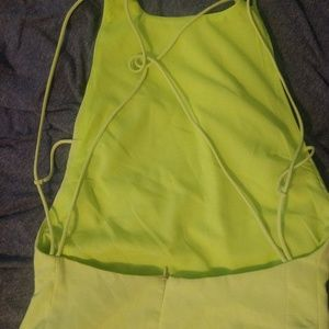 Neon green backless mini dress